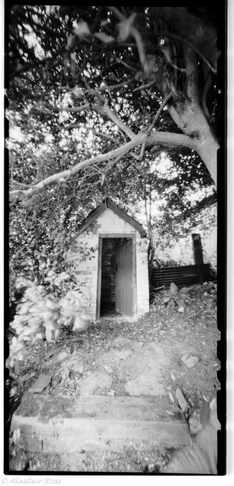 Garden Outhouse and Chair - Pinhole, Ilford FP4, f/158 @ 36 minutes (ish)