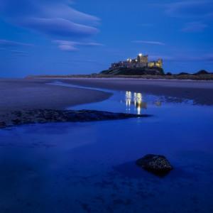 Photograph of Bamburgh Castle at dusk taken using Velvia 50