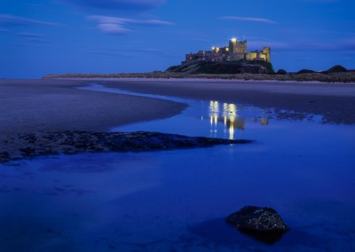 Photograph of Bamburgh Castle at dusk taken using Velvia 50