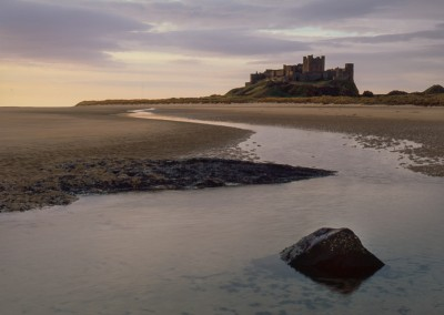 Photograph of Bamburgh Castle after dawn taken using Velvia 50