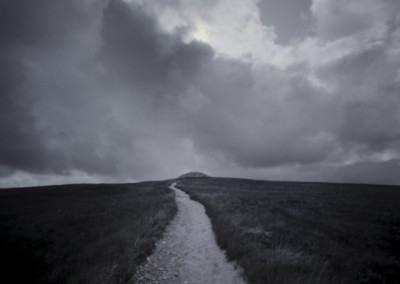Path to Eternity, Barpa Langass burial mound, North Uist, neolithic, black and white photography, pinhole