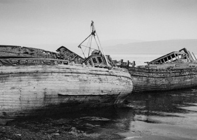 Abandoned Boats, Salen, Isle of Mull, black and white landscape photography