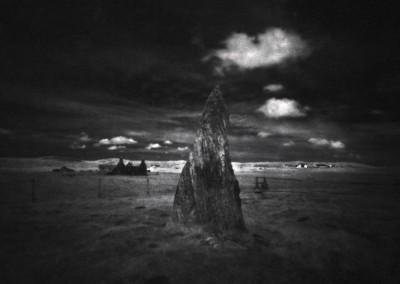 Callanish II Stone Circle, Isle of Lewis, Outer Hebrides, black and white pinhole photography