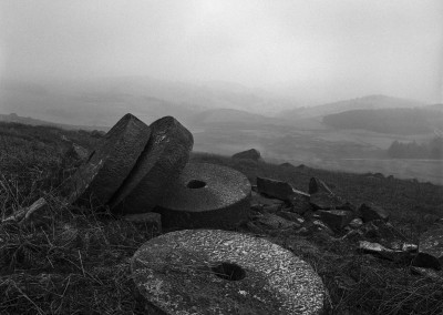Millstone Grit, below Stanage Edge, Derbyshire Peak District black and white photography