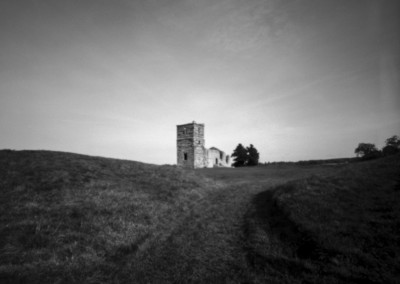 Knowlton Henge and Church, Dorset black and white pinhole photography