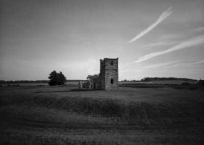 Knowlton Henge and Church, Dorset black and white pinhole