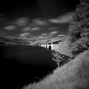 Ashopton Viaduct, Ladybower Reservoir, Derbyshire Peak District black and white pinhole photography