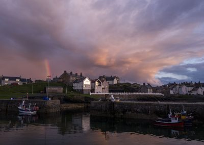 Sunset Rainbow, Port Soy, Scotland, scottish landscape photographer