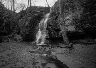 Waterfall Swallet, Derbyshire Peak District, black and white pinhole landscape photography