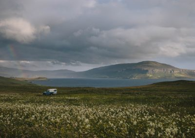 Rainbow and Landrover, Skye, hebridean landscape photography