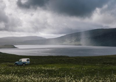 Incoming Weather and Landrover, Skye, scottish landscape photography