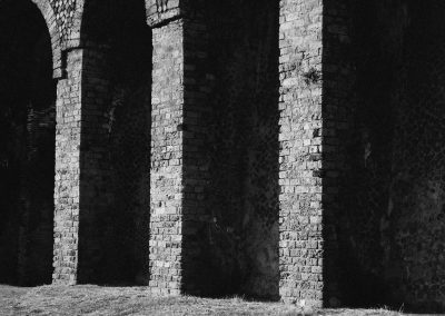 Pompeii, Italy, black and white landscape photography